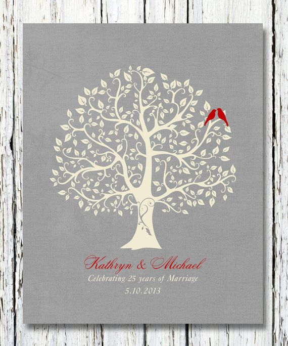 Personalized 25th Silver Wedding Anniversary Gift, Special Anniversary Keepsake Gift for parents,parents-inlaw, 8 x 10 poster print