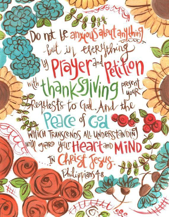 Don't worry about anything; pray about everything. Philippians 4:6-7