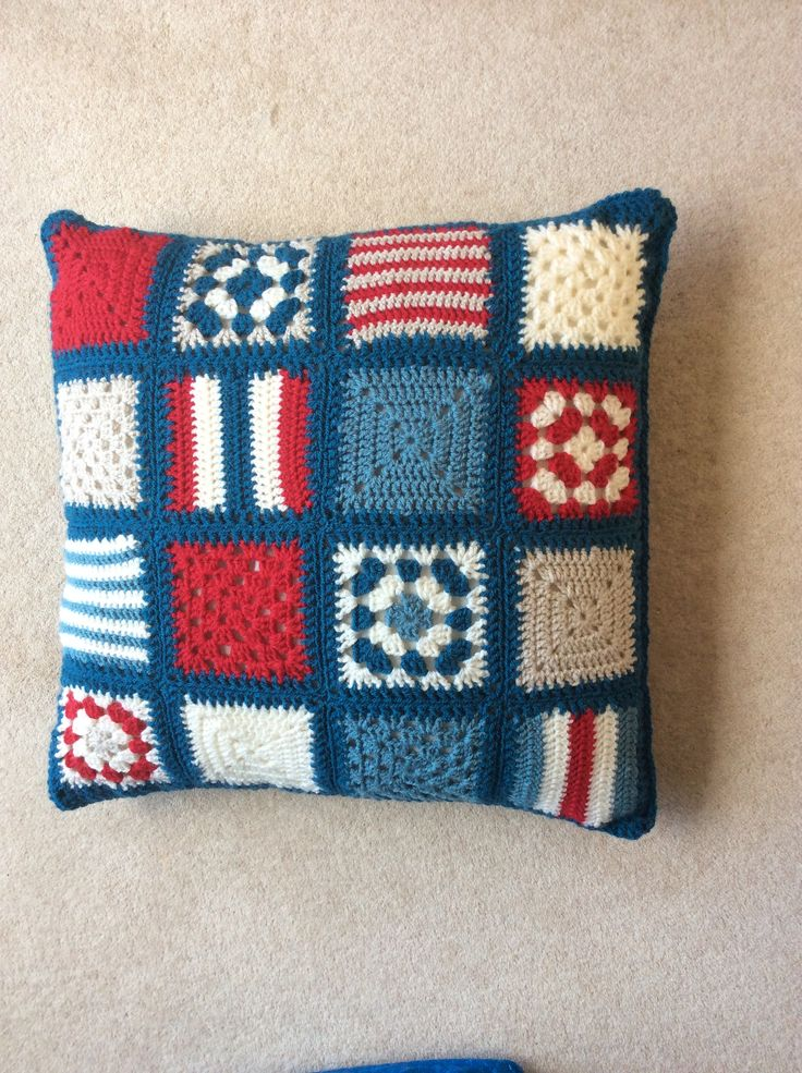 Crochet cushion cover, my version copied from one seen on Internet.