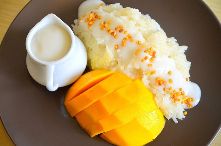 Coconut Milk Sticky Rice with Mangoes {Thai-Laotian Cuisine} - important to cook the sticky rice in a Thai-Laos bamboo steamer pot and basket, then store it in a Thai-Laos Rice Basket. #vegan
