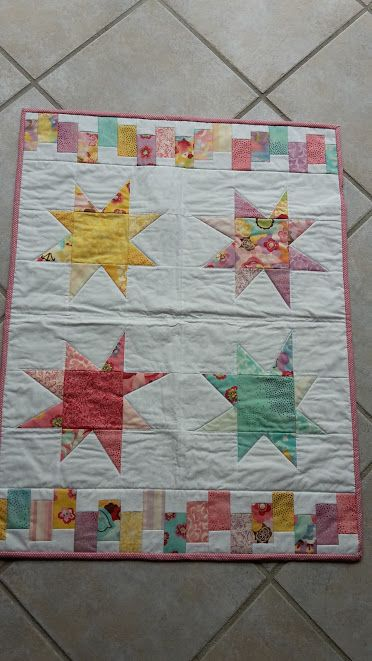 Baby quilt - wonky stars pastel colors. June 2015.