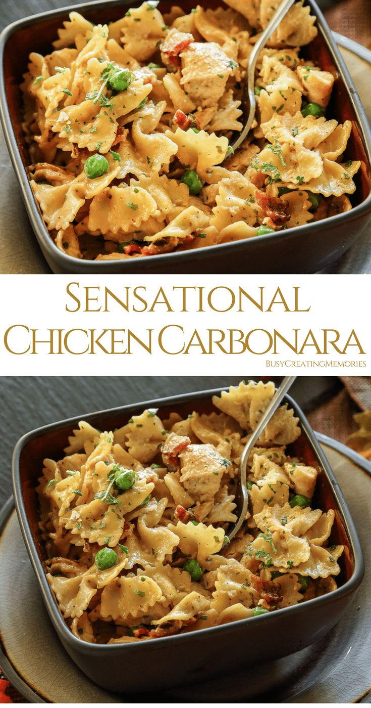 Try the Best Chicken Carbonara recipe with Bacon, chicken and creamy cheesy pasta perfection! An easy way to create a gourmet chicken dinner the entire family will enjoy, with or without Peas, you decide!