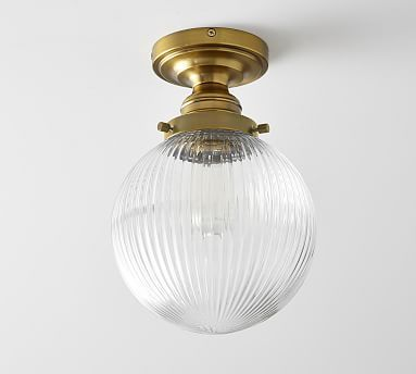 PB Classic Ribbed Glass Globe Flushmount #potterybarn