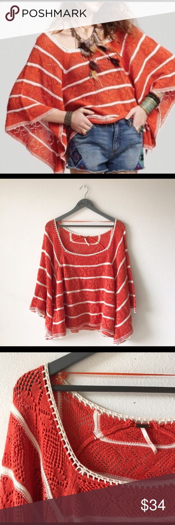 Free people la Bonita crochet orange white pancho This cotton Pancho is perfect for spring and summer!! It's perfect for the beach, vacation or just hanging out at the park or bbq. This runs big so can easily fit a small. Free People Sweaters Shrugs & Ponchos