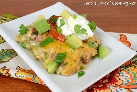 Green Chile and Pinto Bean Layered Mexican Casserole