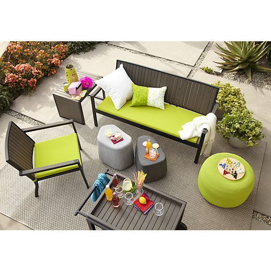 Alfresco Grey Side Table Stool   Crate And Barrel