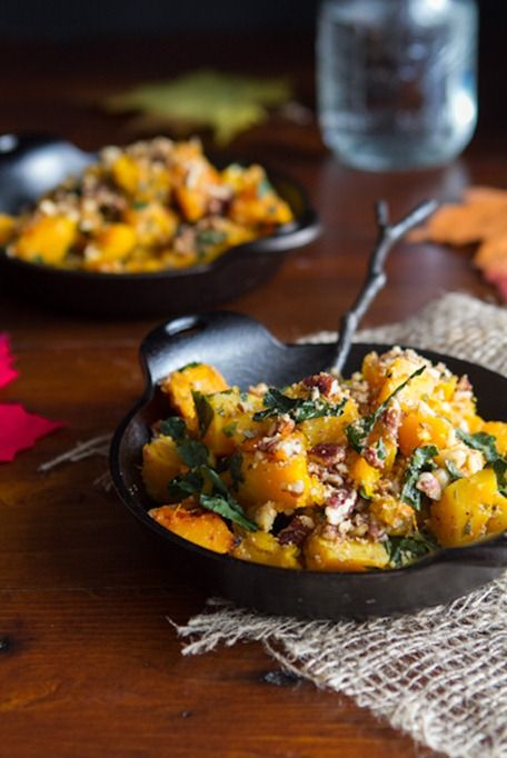 Roasted Butternut Squash with Kale and Almond Pecan Parmesan #vegan #glutenfree #paleo