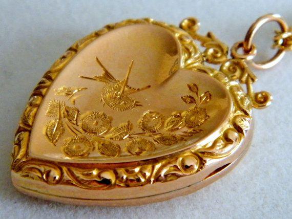 9k Antique Gold Locket C 1856 Vintage Antique Edwardian
