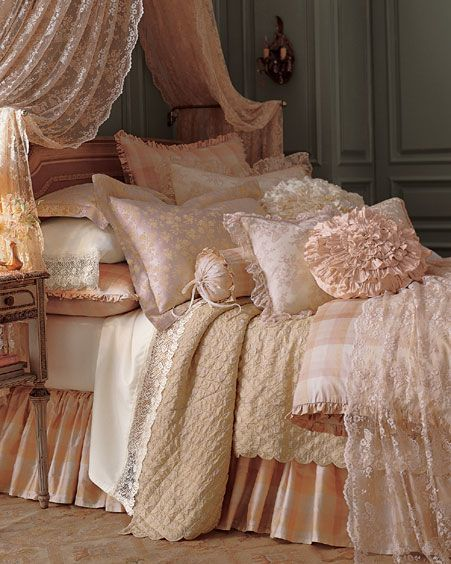 Baby Peach Bedding :: Layers, Lace, Ruffles / We Heart It