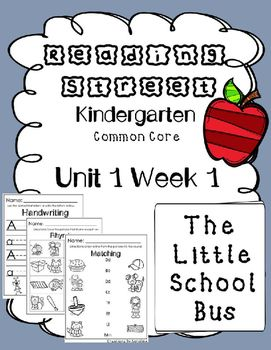 $3 - 1st Grade Unit 1 Week 1 Kindergarten Centers. The Little School Bus.