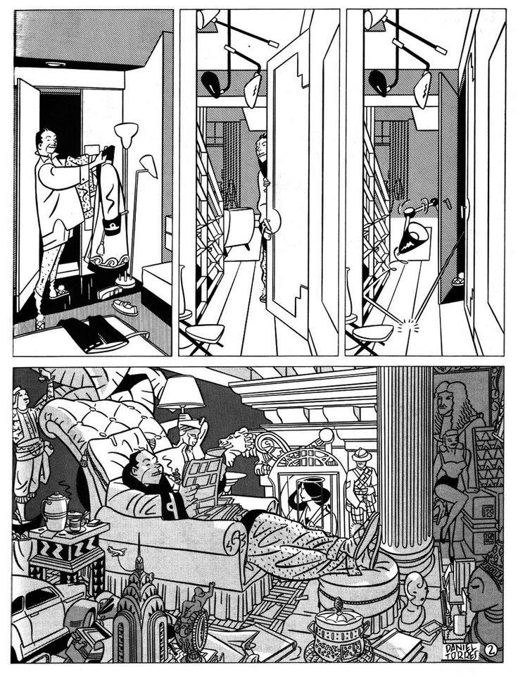 Daniel Torres, two-page strip published in the special architecture number of (à suivre) in 1985 and a year later in the Spanish magazine Cairo.