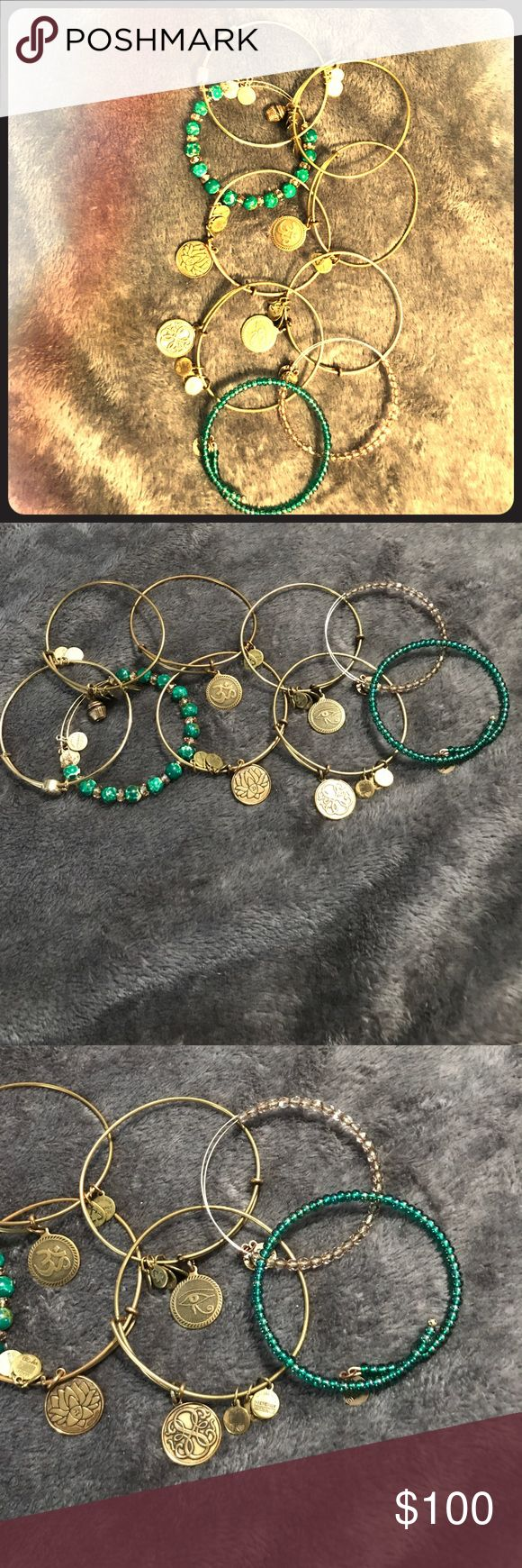Alex and Ani Lot of 9 Bracelets 9 Alex and Ani Bangles in GUC. A mix of Silver and Gold-tone. Colorful and beautiful Beads Retail for well over $300 includes: Ani Path of Life Color Infusion Charm Bangle, pinkish beads, and green and light orange beads. Shiny Gold Finish lex and Ani Evil Eye Expandable Wire Bangle - Rafaelian Gold Finish amongst others. Alex and Ani Jewelry Bracelets