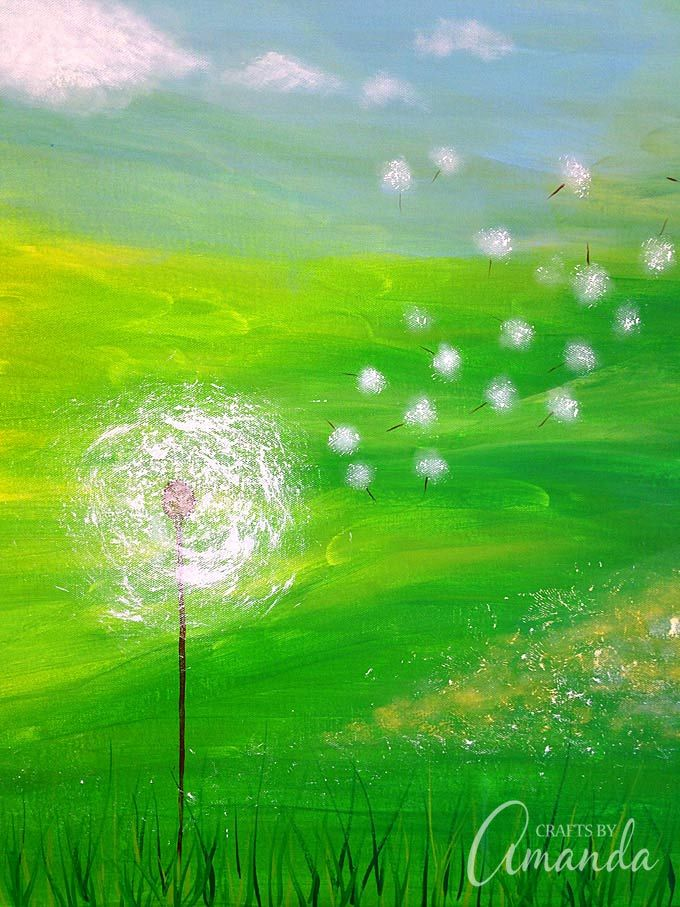 Dandelion Painting on Canvas | Recipe | Crafts, How to ... Easy Acrylic Flower Paintings On Canvas