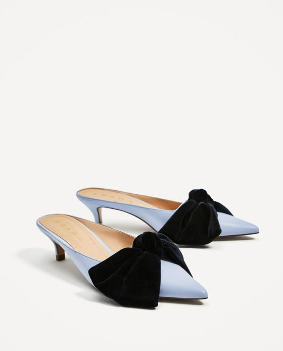HEELED MULES WITH BOW in light blue & navy from Zara (under $50)