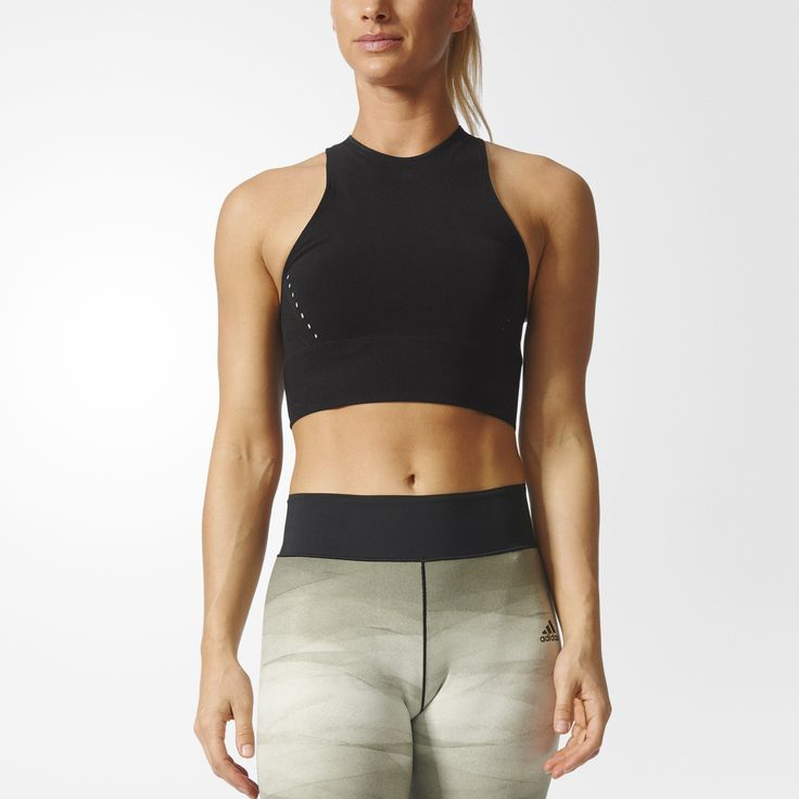 Get ready to sweat in this women's training top made from ventilating climacool®. In seamless knit for a body-hugging fit, the crop top is finished with the adidas Badge of Sport on the back.