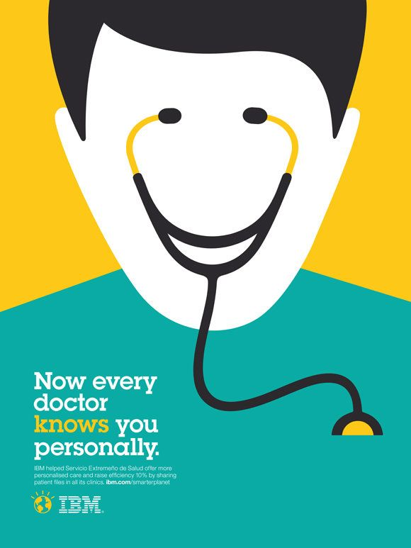 IBM Print Ad Campaign by Noma Bar: Now every doctor knows you personally.