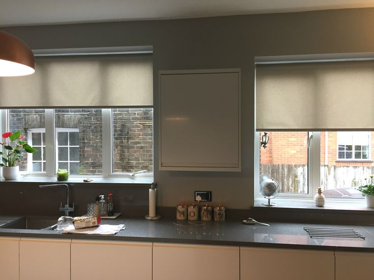 Roller blinds in basics fabric installed to kitchen windows | Neutral coloured blinds | Made to measure | Brighton