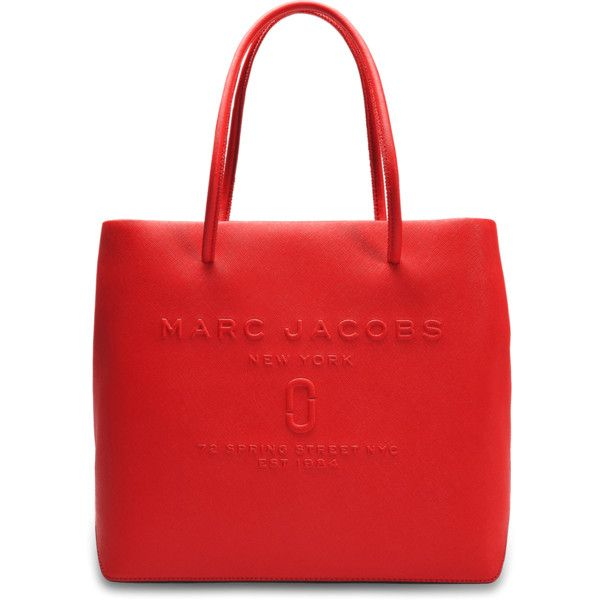 Marc Jacobs EW Logo Shopper (945 PEN) ❤ liked on Polyvore featuring bags, handbags, tote bags, red, red purse, marc jacobs purse, marc jacobs tote bag, red shopping bags and shopper handbag