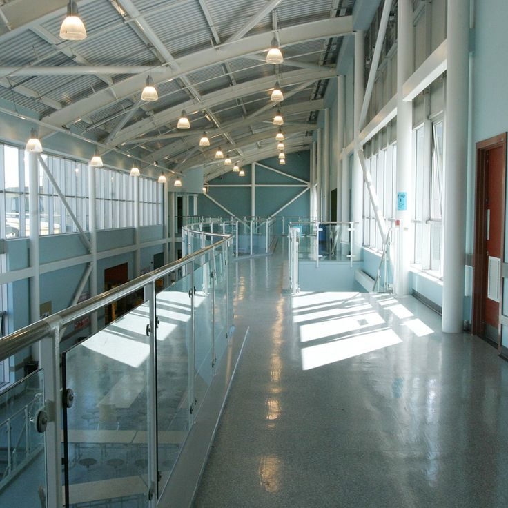 School Hallway With Lighting St Lukes Science Sports College Devon England Interior Design Education Space Learning