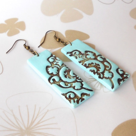 Fresh Mint Filigree Stamped Dangle Earrings by TallPoppi on Etsy, $25.00    Make with salt dough/clay & stamp my own design!