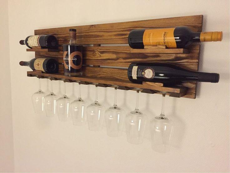 Vin & vinglas holder, Super lækker vin holder! Med plads til 8 flasker vin og 8 glas!   Laves også med 4 stående flasker og 4 glas..  30x90x10    Skriv!