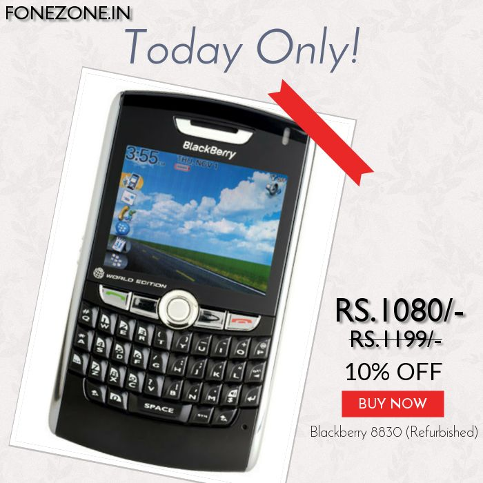Today Only! {{10%}} this item.  Follow us on Pinterest to be the first to see our exciting Daily Deals. Today's Product: {{Blackberry 8830 (Refurbished)}} Buy now: {{http://www.fonezone.in/products/blackberry-8830-refurbished}}