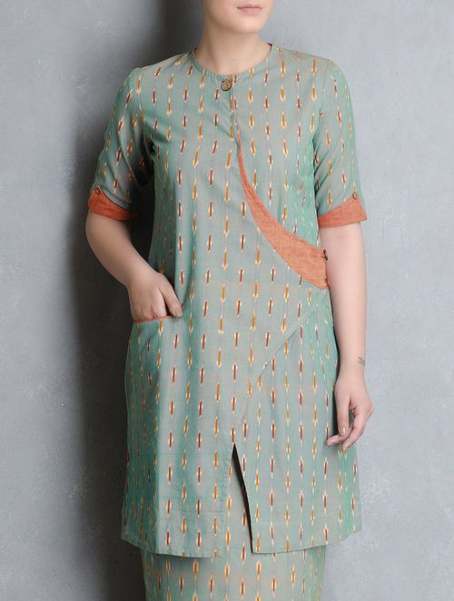 Green-Orange Ikat Cotton Cross Over Kurta by Indian August. Sleeve detail
