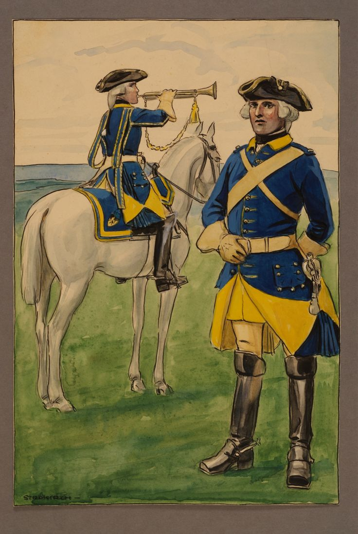 Bugler and non-commissioned officer at Västgöta regiment of horse 1748 by Einar von Strokirch