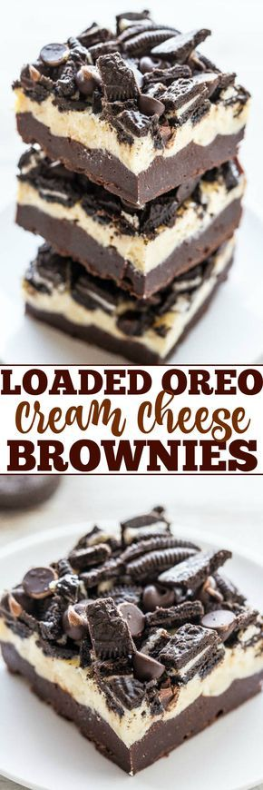 Loaded Oreo Cream Cheese Brownies - Ultra fudgy brownies topped with cream cheese, white chocolate chips, chocolate chips, and Oreos!! LOADED to the MAX and soooo good! Easy, no mixer recipe that's as easy as using a mix!!