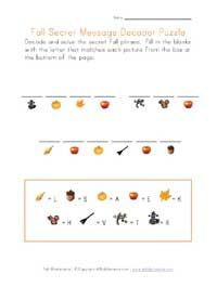 Printable autumn worksheets