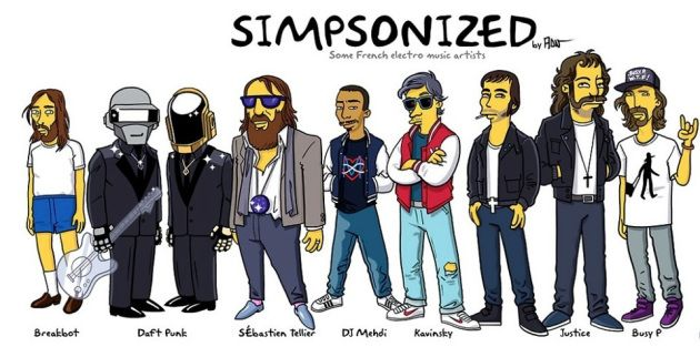 French Electro DJs Simpsonized! RIP Mehdi