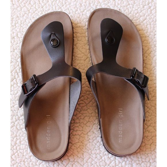 New Madden Girl Birkenstocks Brand new without box and tags. Never worn. Super cute and makes any outfit look out together. Goes with anything. Open to reasonable offers. No trades. Madden Girl Shoes Sandals