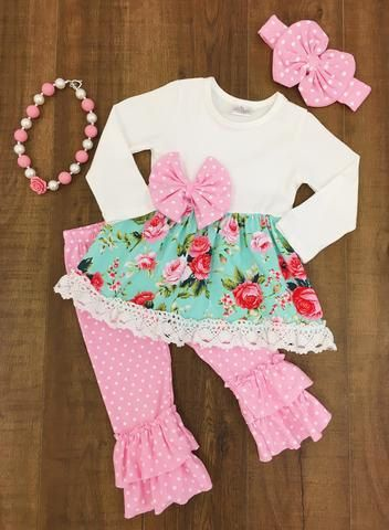 Girls Pink Floral Boutique Outfit by MyLilBugBoutique on Etsy