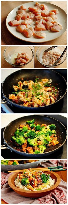 """1/2 taza de arroz integral 1/4 taza de miel 2 cucharadas de semillas de sésamo 2 cucharadas de salsa de soja 1 diente de ajo picado 1 clara de huevo 2 cucharadas de fécula de maíz 2 pequeñas pechugas de pollo (12 oz), cortadas en pedazos de 2 """" sal y pimienta 1 cucharada de vegetales aceite 2 cebollas verdes, picadas 2 tazas de brócoli"""