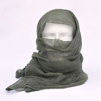 Verde oliva táctico de malla de algodón Bufanda Wrap cara cubierta Máscara Shemagh Sniper Veil