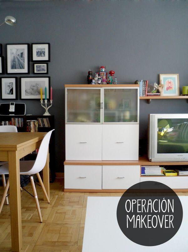 Modular para living comedor y pared gris casa y - Paredes modulares ...