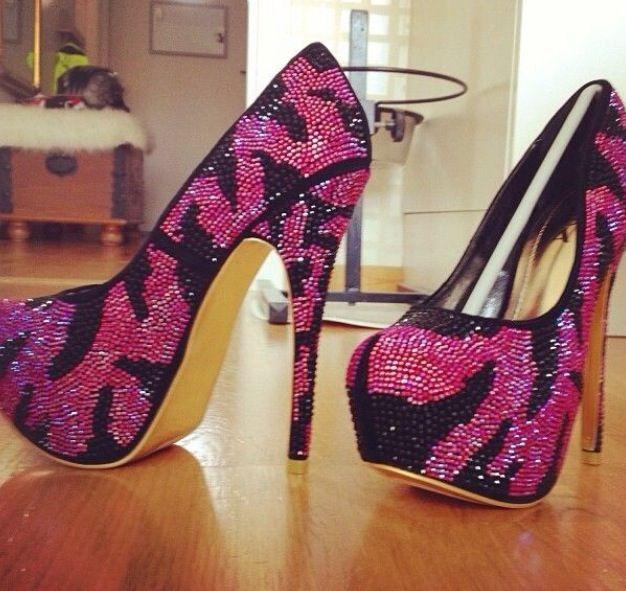 Pink and black sparkly zebra print heels | ѕнoeѕ | Shoes ...