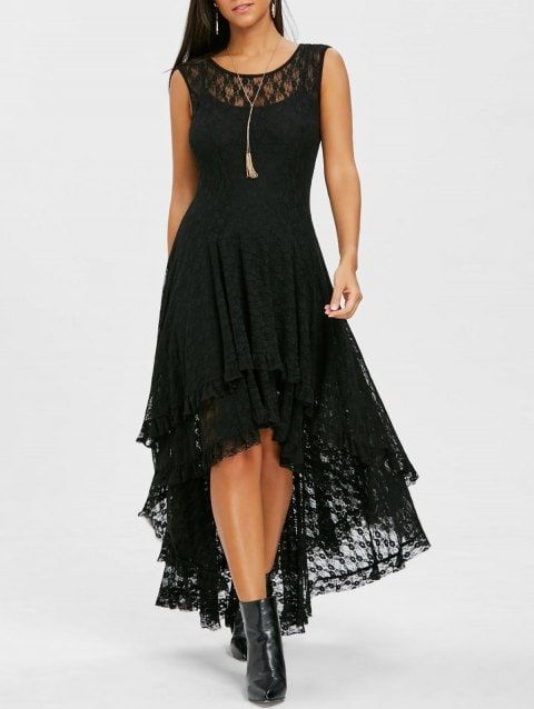 025bf14979 Layered Lace High Low Dress - BLACK 2XL | clothing in 2019 | High ...