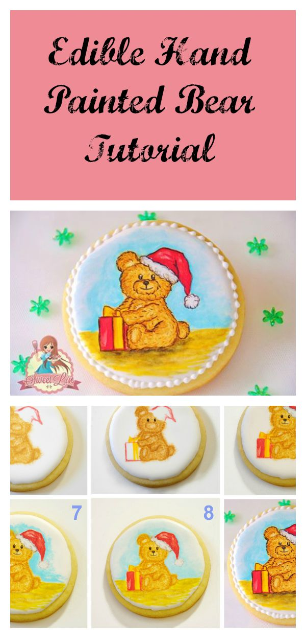 This edible hand painted bear tutorial can be recreated on cookies, cupcake toppers or hand painted directly on a cake. Perfect for baby shower & kids cakes