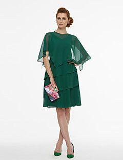 Γραμμή+Α+Λαιμόκοψη+V+Κοντό+/+Μίνι+Σιφόν+Κοκτέιλ+Πάρτι+Φόρεμα+με+Πλισέ+με+TS+Couture®+–+EUR+€+226.92
