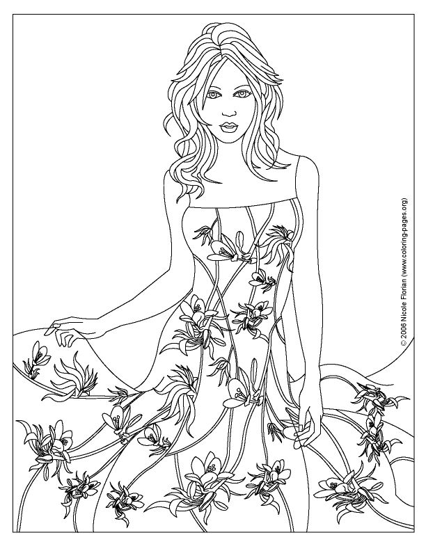 coloring pages of designs dresses fashion design coloring pages - Free Coling