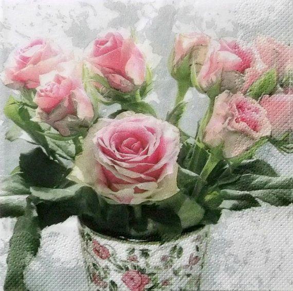 Ensemble de 5 pcs 3 plis '' Roses'' serviettes par MSNapkinsSupply