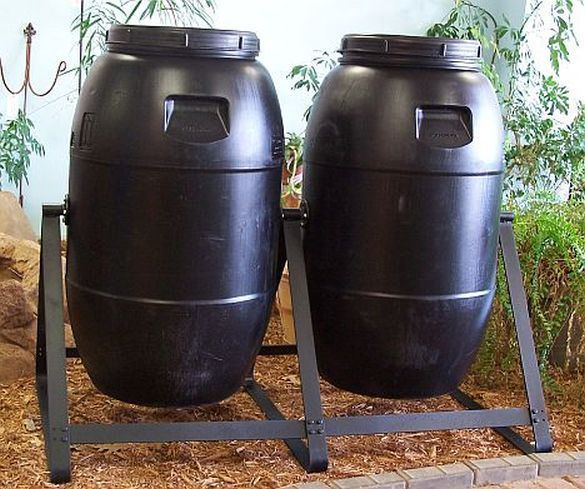 Composter Tumbling Composter Double 60 Gal Black Plastic Durable! FREE SHIPPING #AuntMollysBarrels