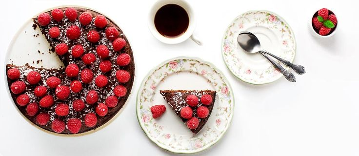 My raspberry chocolate torte as cooked by the Organic Connections Magazine - from Eat Drink Paleo Cookbook. Gluten-free, grain-free and dairy-free.