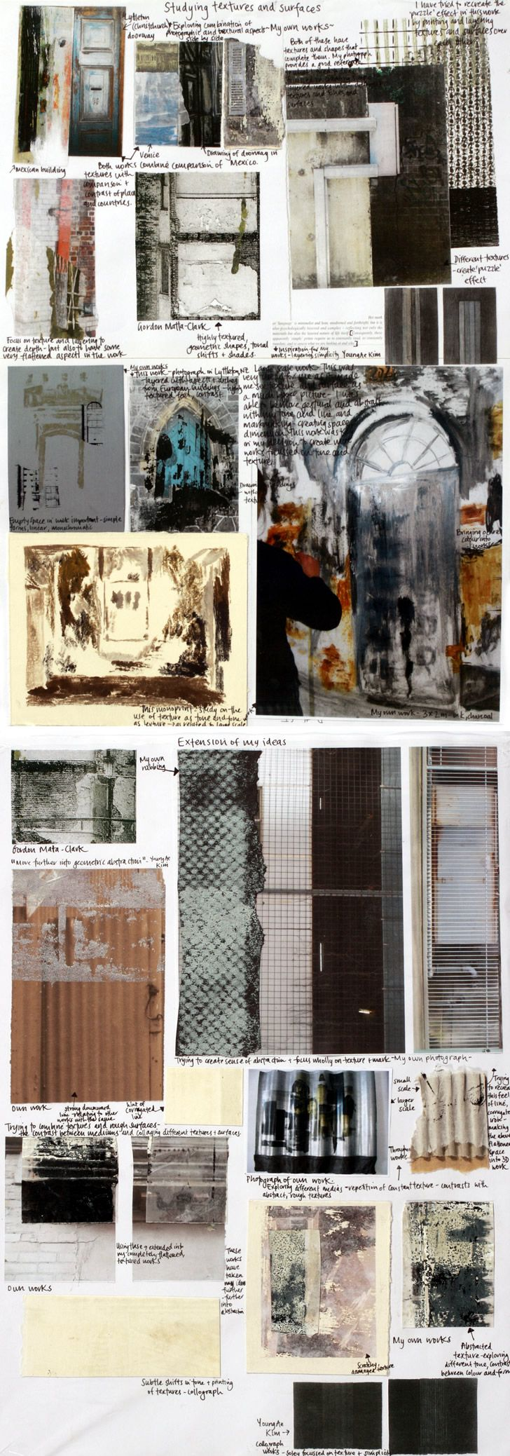 NCEA scholarship sketchbook - textures and media experimentation