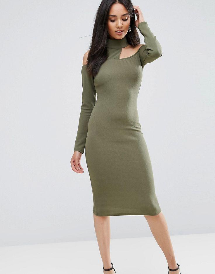 Ax Paris Khaki Midi Bodycon Dress - Green