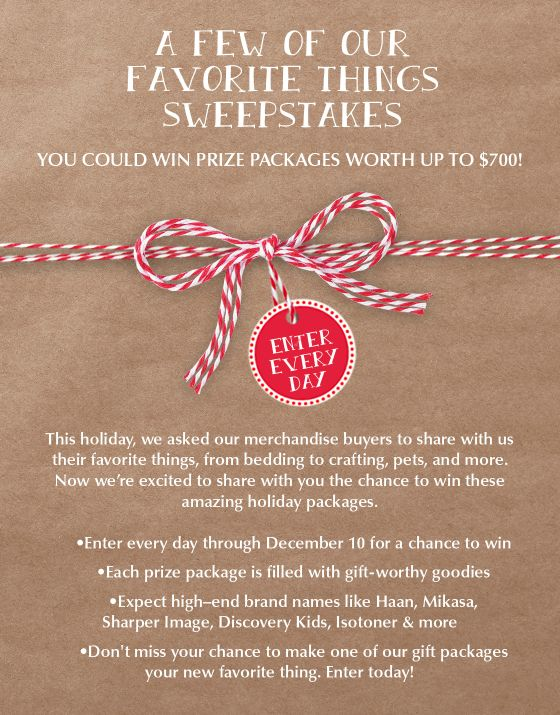 This Holiday, Tuesday Morning asked their merchandise buyers to share their favorite things with them from bedding to crafting, pets and more.  DAILY WINNER!