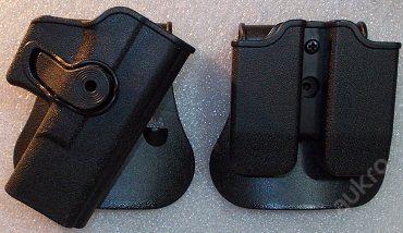 """IMI DEFENSE sada rotač. pouzder GLOCK 19 PÁDLO !!! - IMI DEFENSE - ISRAEL  Nové, nikdy nepoužité, izraelské taktické opaskové pistolové pouzdro, typ GK19 9/40, vhodné pro pistole typu Glock (19,23,25,28,32,...).  Dvojité opaskové pouzdro pro zásobníky pro Glock (17, 19, 22, 23, 26, 27, 31, 32, 33, 34, 35, 37, 38, 39,...).  Obě pouzdra jsou polohově stavitelná v rozsahu 360°, systém """"tisícihranu"""". Jedná se o rotační pouzdra.  Nastavení polohy obou pouzder se provádí imbusovým klíčem. …"""