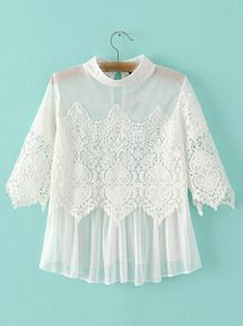 White Grenadine Lace Key Hole Back Blouse