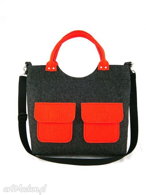 New red pockets ramię aneta pruchnik torebka filc listonoszka